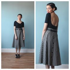 midi skirt / buffalo plaid skirt / black and by brownbagvintage, $36.00