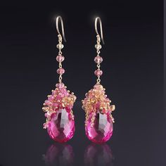 CUSTOM Made to Order - Solid Gold Earrings with Hot Pink Topaz, Orchid Pink Sapphires, and Imperial Topaz Crystal Earrings, Crystal Jewelry, Beaded Earrings, Earrings Handmade, Gold Earrings, Gemstone Jewelry, Custom Earrings, Gold Jewellery, Drop Earrings