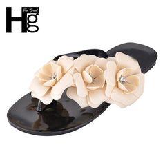 HEE GRAND 2017 Summer Big Camellia Candy Color Women Sandals Female Flip  Flops Low Flat Women Shoes XWZ455  Affiliate a876b0ccd