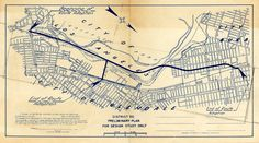 The proposed Glendale portion of the Golden State Freeway (I-5) as adopted by Glendale City Planners, dated October 30, 1952. The freeway runs from Glendale Boulevard and Riverside Drive along the Los Angeles River to Verdugo Avenue and Front Street in Burbank. Glendale Central Public Library. San Fernando Valley History Digital Library.