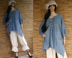 Hey, I found this really awesome Etsy listing at https://www.etsy.com/listing/175438981/hand-dyed-blue-linen-gauze-tunic-with