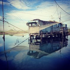 Fishing hut in the wetlands/lagoon of Ravenna - Instagram by @blackdotswhitespots