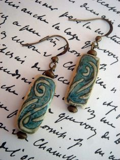 SIMPLICITY Textured Ceramic Beaded Earrings by SaraRiley on Etsy, $17.00