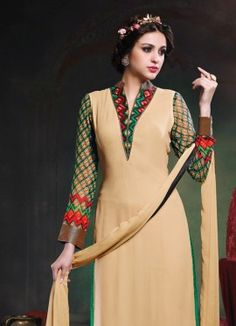New Cream Embroidered Designer Salwar Suit