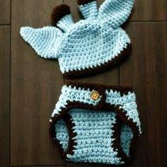 Crochet Baby Giraffe Hat and Diaper Cover Set - Costume - Baby Crochet Hat - Newborn Hat - Photo Prop