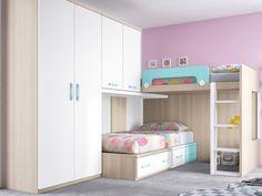 Camas y Literas Tren : Dormitorio con cama alta de rincón