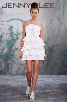 Perfect for a bridal shower, reception, rehearsal dinner, or even bachelorette party! Short ruffled wedding dress from Jenny Lee, Fall 2013