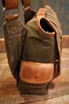 Elkton Messenger Satchel Canvas Bag - Waxed Canvas Leather Trim by Buffalo Jackson Trading Co