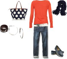 """Orange and Navy"" by thetrendyhomemaker on Polyvore"