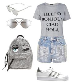 """Hello Bonjour Ciao Hola SUMMER"" by clauddx ❤ liked on Polyvore featuring Boohoo, Topshop, adidas Originals, Christian Dior, Chiara Ferragni, Summer, Silver, summerstyle, summerfashion and silvervibes"