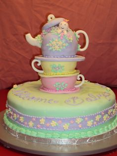 Possible cake ideas for tea party baby shower.