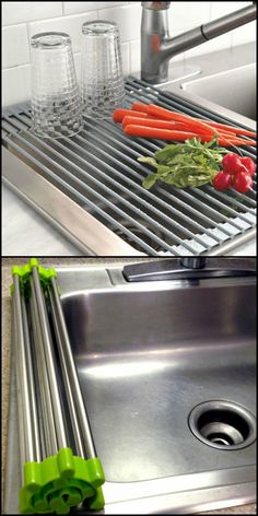 This roll-up drain rack is handy for small space living. It cleverly uses available space on your sink and can be stored very easily and compactly.  http://theownerbuildernetwork.co/yok5  Need a drying rack you can use when rinsing produce and dishes? Then this folding drain rack might be for you!