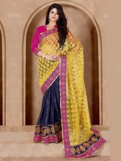 Yellow Cotton Jacquard Saree With Resham Work