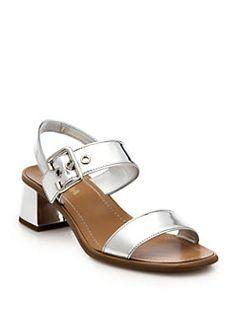 13355d67825 Prada - Metallic Leather Low Block-Heeled Sandals Heeled Sandals