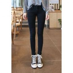 $12.06 Solid Color Zipper Skinny Straight Leg Fashionable Style Jeans For Women