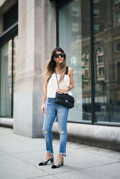 Mango flowy top, cropped skinny jeans, the chanel slingback, chanel french riviera flap, celine tilda sunglasses.