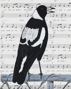 Facebook illo challenge - Music. I love the music of magpies; their warbling always makes me happy! Music paper and painted magpie on a fence.