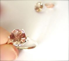 Sunstone Engagement Ring 2 Carat Select Your Stone 14k White, 14k Rose or Sterling Silver