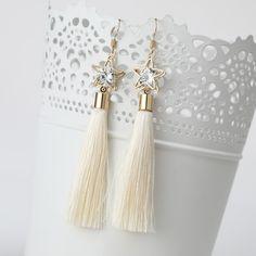 2016 Fashion Bohemian Vintage Earrings Hollow Out Pentagram Rhinestone Drop Long Tassel Earrings  Jewelry For Women  ED157