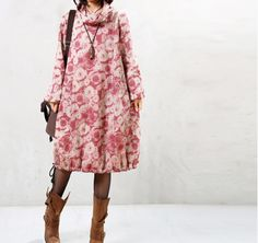 cotton winter dress - Tkdress  - 1