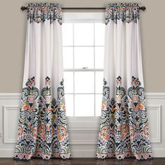 For a new look you'll love, look no further than the Lush Decor Clara Room Darkening Curtain Set . Featuring two room-darkening panels with a. Navy Curtains, Printed Curtains, Rod Pocket Curtains, Blackout Curtains, Window Curtains, Colorful Curtains, Bohemian Curtains, Luxury Curtains, Elegant Curtains