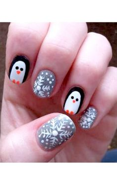 Adorable! But not on ring and pointer, only on ring would look nice. Getting this next time I go to a salon. I'm thinking of getting the Penguin on the ring finger and bright red and green on other nails.