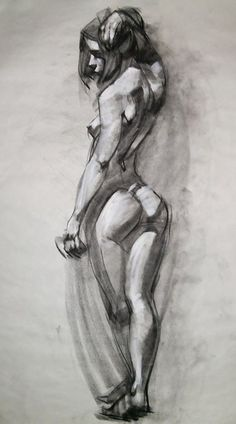 Nude female posterior back character reference figure sketch by Ben Lo. NSFW <3