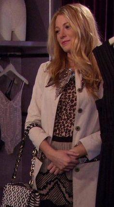 Gossip Girl: Serena Van Der Woodsen in a Gryphon trench coat, Haute Hippie silk chiffon mini and Diane Von Furstenberg bag.