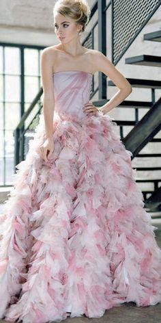katesofficial pink ruffles wedding dress / http://www.himisspuff.com/colorful-non-white-wedding-dresses/2/