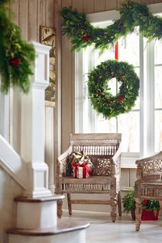 Big and Beautiful Christmas Wreath and Garland....in a wonderful and cozy home.