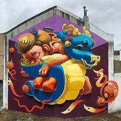 street art Animalitoland in Carballo, Galicia, Spain Murals Street Art, Street Art Graffiti, 3d Street Painting, Arte Tribal, Graffiti Characters, Sidewalk Chalk Art, Graffiti Murals, Amazing Street Art, Stencil Art
