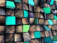 ***READY TO SHIP*** Mosaic made of reclaimed wood blocks. Each has been cut and painted by hand, so the mosaic is unique and never will have an identical copy. Wooden blocks were painted in shades of green and natural burned wood. Measurements: Width: 162 cm (64 ) Height: 46 cm (22 )