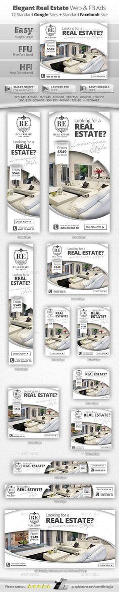 Elegant Real Estate Web & Facebook Banners - Banners & Ads Web Elements