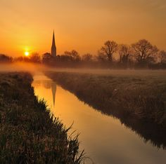 Salisbury Cathedral Spire from Salisbury water meadows.The Gothic cathedral bulit 1220-1320 has the tallest church spire in the United Kingdom at 404 feet.
