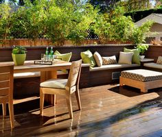 Like the built in planters for additional privacy.                                         Spring Patio Fix-Ups: 10 Wonderful Ways With Built-in Benches