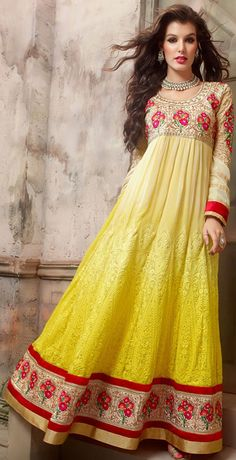 USD 74.83 Shaded Yellow Georgette Floor Length Anarkali Suit 42512
