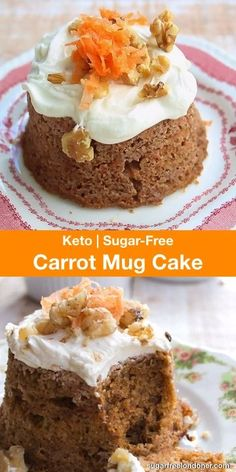 A deliciously moist Keto carrot cake with cream cheese frosting! This easy micro… A deliciously moist Keto carrot cake with cream cheese frosting! This easy microwave dessert recipe is ready in only 10 minutes. Easy Microwave Desserts, Desserts Keto, Keto Friendly Desserts, Sugar Free Desserts, Sugar Free Recipes, Healthy Dessert Recipes, Low Carb Recipes, Sugar Free Carrot Cake, Low Carb Carrot Cake