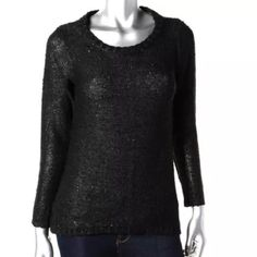 [BOGO 50%] Zara Knit Sequined Pullover Sweater Zara Knit Size S Black New with tags Polyester/Acrylic/Viscose/Cotton Sequined Bundle for discounts! Reasonable offers considered. Thank you for shopping my closet! Zara Sweaters Crew & Scoop Necks