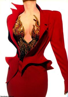 'Dauphine en feu' : Suit in red crepe, jacket with asymmetrical collar and upturned basque, worn over bodice embroidered with precious ...