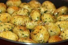 Ароматная румяная молодая картошка с укропом и чесноком в духовке