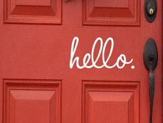 Front Door Hello Vinyl Decal Mailbox Sticker by WallArtShowcase