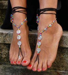 Negro espiral sandalias descalzo pie joyería hippie sandalias dedo tobillera ganchillo descalzo sandalia tribal festival yoga étnicos boda playa