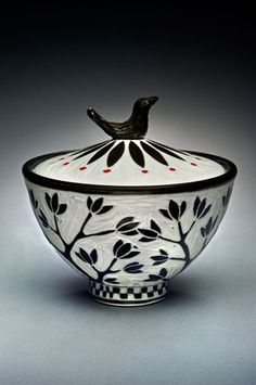 Karen Newgard- Bird-Knob-Jar- sgrafitto on porcelain- salt kiln