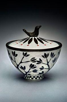 Karen Newgard- Bird-Knob-Jar- sgrafitto on porcelain- salt kiln