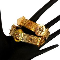Victorian buckle bracelets, engagement / wedding pair, rolled gold. These sets are nearly impossible to find.  This one is magnificent.  All the