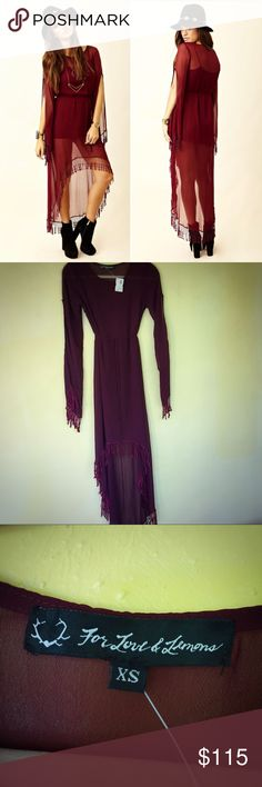 🐴 RARE For Love & Lemons Wild Horses Hi Low Dress This gorgeous For Love & Lemons Wild Horses high low maxi dress in Wine is brand new older stock. No flaws whatsoever, new with tags - could use some gentle ironing on the tassels since it was in storage for so long and they got a little bit wonky, but it's in totally perfect condition. For Love And Lemons Dresses High Low