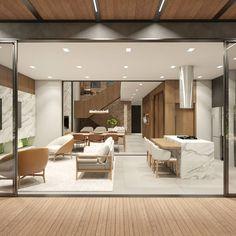 Residência A/L - Gourmet / Sala de Jantar / Sala de TV e Estar . . . . . Integração definem esses ambientes da Residência A|L. Ambientes integrados proporcionam um maior aproveitamento do espaço, trazendo conforto e comodidade para seus usuários.  Projeto: @alexsandro.arq 3D: @alexsandro.arq Conference Room, 3d, Table, Furniture, Home Decor, Dining Room, Creature Comforts, Environment, Gourmet