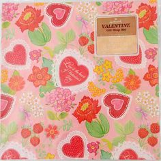 Vintage Valentines Day Wrapping Paper Gift Wrap Pink Hearts