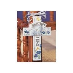 Sweet way to incorporate a cross into a child's room!    Small Baptism Cross Adornment
