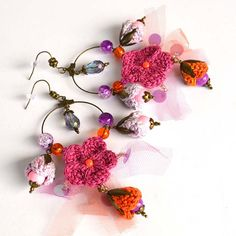 unusual earrings,crochet earrings,quirky boho earrings,purple boho hoops,crochet jewelry,crochet flower earrings,gift for her,marmotescu